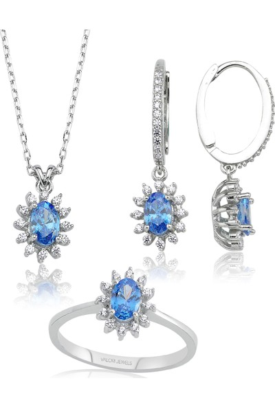 Valori Jewels 1.6 Karat Swarovski Zirkon Mavi Oval Taşlı, Gümüş Set