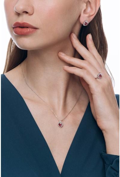 Valori Jewels 3 Karat Swarovski Zirkon Kırmızı Kalp Taşlı, Gümüş Set