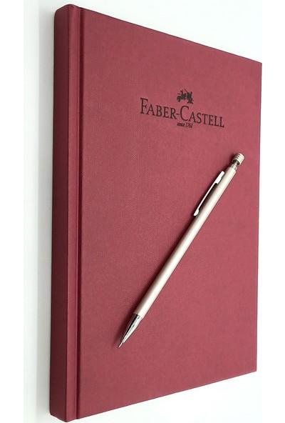 Faber-Castell A5 Ajanda Vişne Çizgili ve Mekanik Versatil Kalem 0.7 Altın