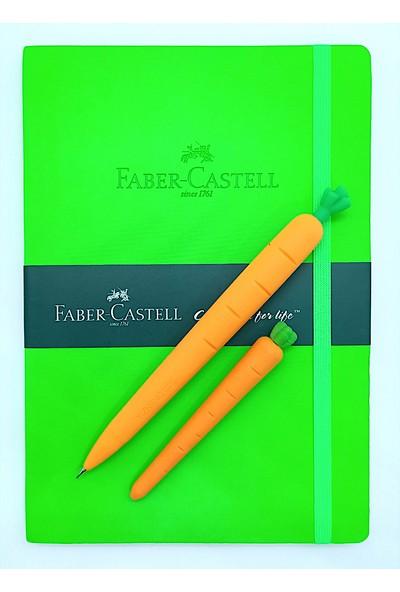 Faber-Castell A5 Suni Deri Ajanda Düz ve Silikon Havuç Kalem + Havuç Silgi