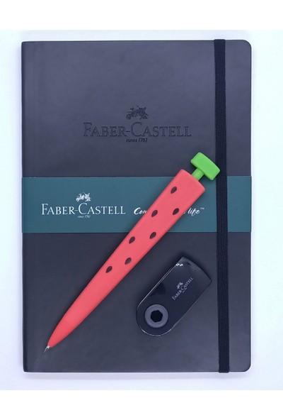 Faber-Castell A5 Suni Deri Ajanda Düz ve Silikon Versatil Kalem 0.7 + Silgi