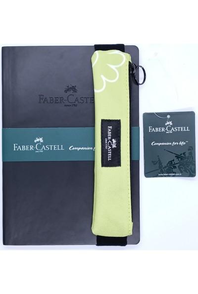 Faber-Castell A5 Suni Deri Ajanda ve Fc Kalemlik Yeşil - Sarı