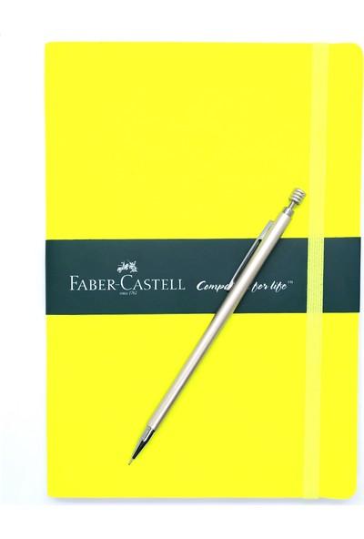 Faber-Castell A5 Suni Deri Neon Sarı Ajanda Düz ve Mekanik Versatil Kalem 0.7