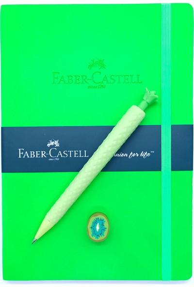 Faber-Castell A5 Suni Deri Neon Yeşil Ajanda Çizgili ve Ananas Versatil Kalem ve Silgi
