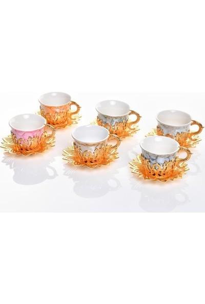 Lovera 6'lı Kahve Takımı-Fincan Takımı Gold