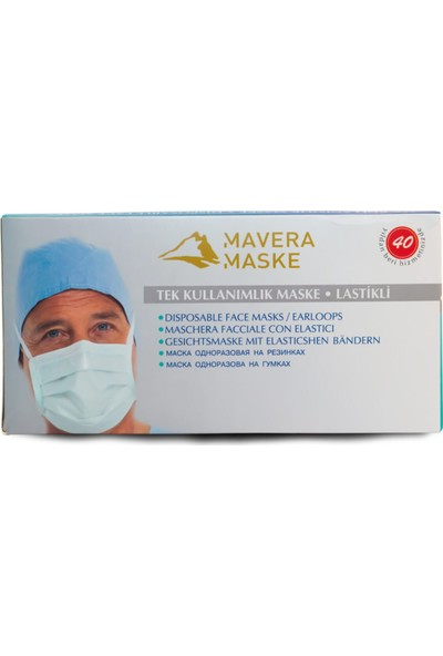 Mavera 3 Katlı Filtreli Burun Telli Cerrahi Maske 50'li
