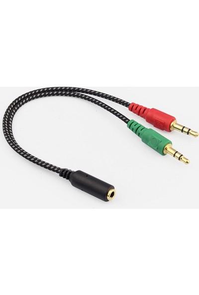 Zabata 3,5 mm Mikrofon ve Kulaklık Ayırıcı Birleştirici Splinter Kablo 2 Erkek 1 Dişi
