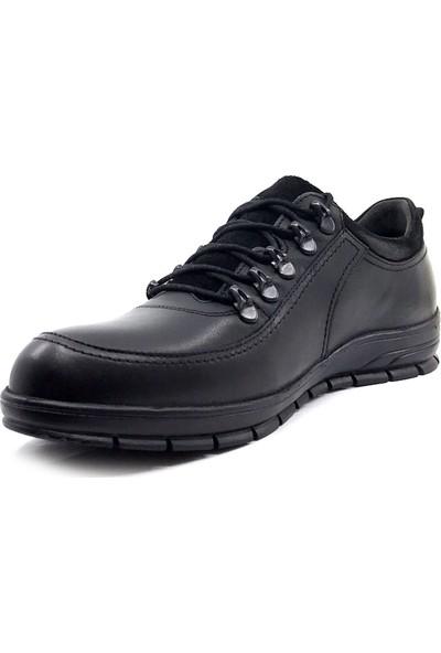 Berenni 177 Siyah Deri Kaucuk Taban Erkek Ayakkabı