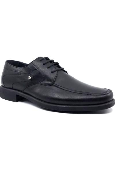 Berenni 187 Siyah Deri Kaucuk Taban Erkek Ayakkabı