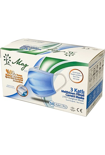 Mag 50 Adet Yeşil Meltblown Filtreli Tam Ultrasonik 3 Katlı Telli Cerrahi Maske