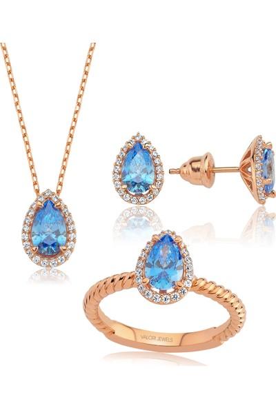 Valori Jewels 3 Karat Swarovski Zirkon Mavi Damla Taşlı, Rose Gümüş Set