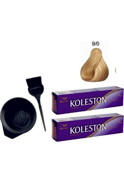 Koleston Tüp Saç Boyası 9/0 Sarı 2'li + Boyama Seti