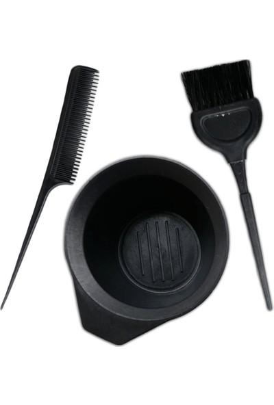 Rood Wit Saç Boya Fırçası+Krepe Tarağı+Boya Kabı Saç Boyama Seti