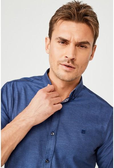 Avva Erkek Lacivert Oxford Düğmeli Yaka Slim Fit Gömlek A02B2287