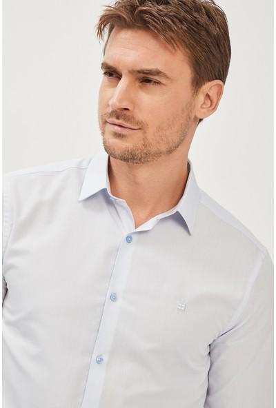 Avva Erkek Mavi Oxford Klasik Yaka Slim Fit Gömlek E002002
