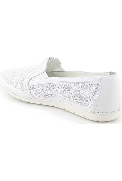 Evida 2673-1 Deri Kadın Ayakkabı-Beyaz