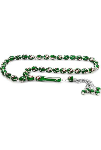 HepNaturel Lale Tasarım Yeşil Mineli Arpa Kesim 925 Ayar Gümüş Tesbih