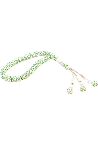 Vetesbih 1000 Ayar Gümüş Kazaz Örme Yeşil Beyaz Taraftar Tesbih