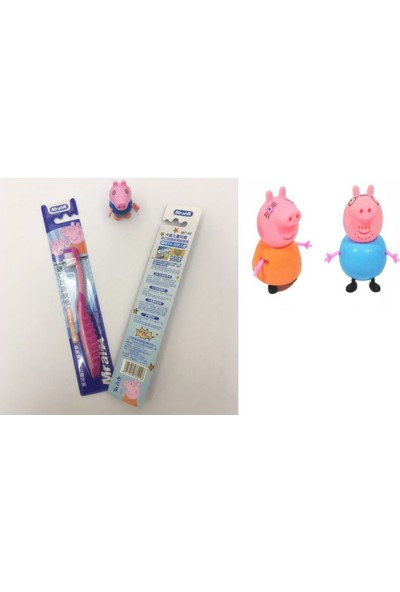 Peppa Pig Diş Fırçası, 2'li Peppa Pig Figür Oyuncağı Hediye, Çocuk Diş Fırçası