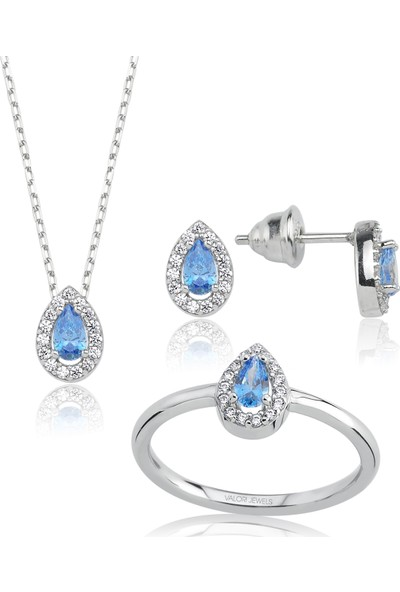 Valori Jewels 0.80 Karat Swarovski Zirkon Mavi Damla Taşlı Gümüş Set