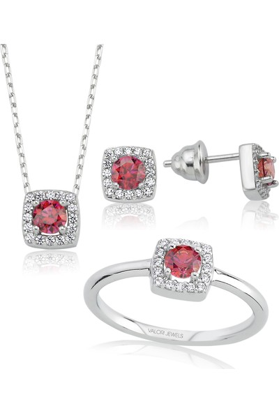 Valori Jewels 1 Karat Swarovski Zirkon Kırmızı Yuvarlak Taşlı Gümüş Set