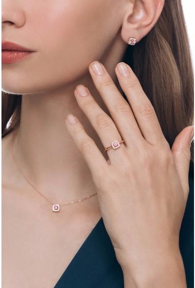 Valori Jewels 1 Karat Swarovski Zirkon Pembe Yuvarlak Taşlı Rose Gümüş Set