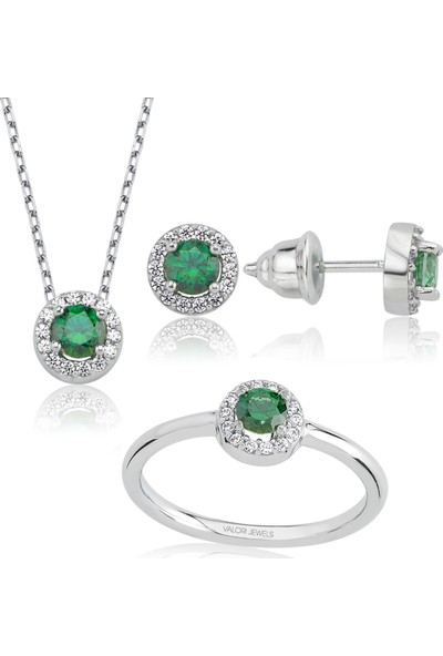 Valori Jewels 1 Karat Swarovski Zirkon Yeşil Yuvarlak Taşlı Gümüş Set