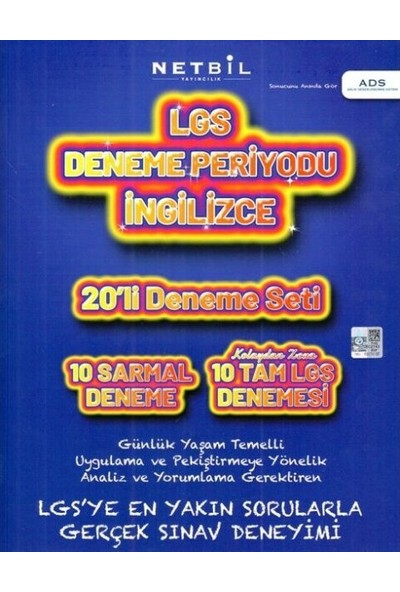 Netbil Yayıncılık 8. Sınıf Lgs İngilizce Periyot 20 Li Deneme Seti