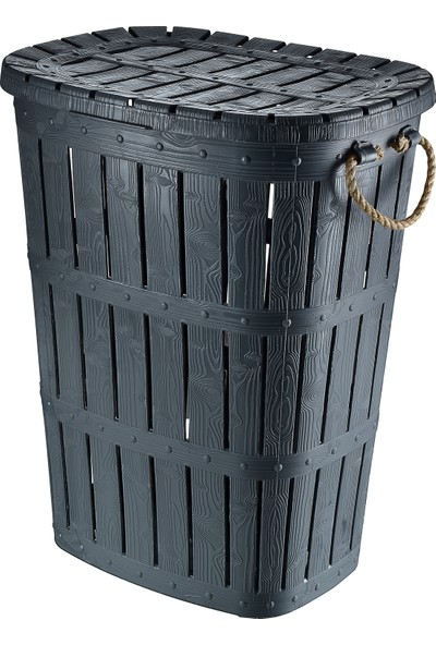 Tuffex Ahşap Görünümlü Halatlı Kirli Çamaşır Sepeti