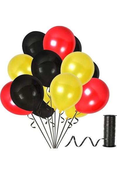 Rafya Hediyeli 100 Adet Metalik Parti Balonu Kırmızı - Siyah - Sarı