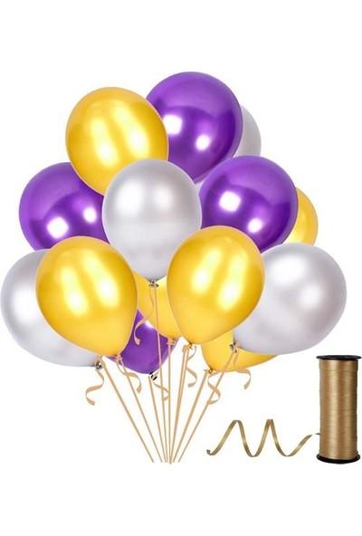 Kullanatparty Rafya Hediyeli 50 Adet Metalik Parti Balonu Mor - Altın - Gümüş