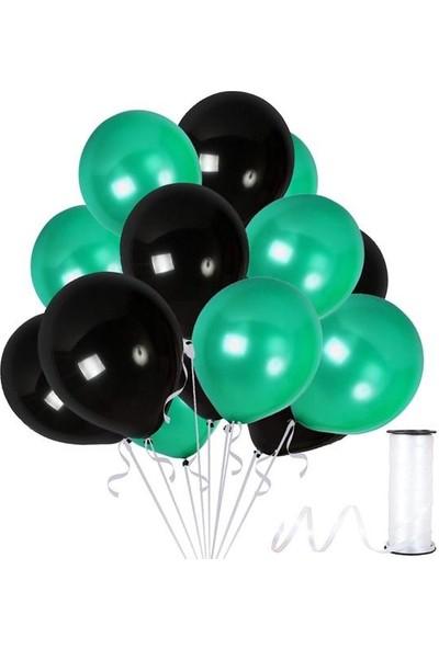 Kullanatparty Rafya Hediyeli 50 Adet Metalik Parti Balonu Koyu Yeşil - Siyah