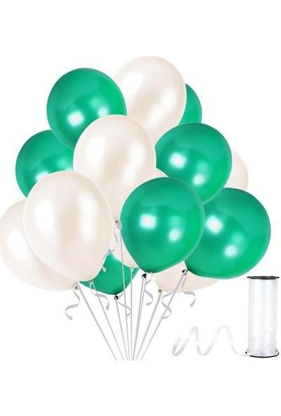Kullanatparty Rafya Hediyeli 50 Adet Metalik Parti Balonu Koyu Yeşil - Beyaz