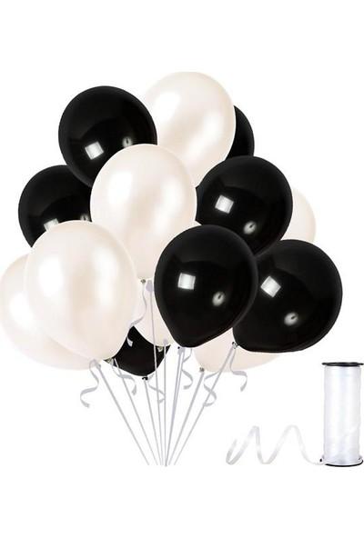 Kullanatparty Rafya Hediyeli 50 Adet Metalik Parti Balonu Beyaz - Siyah