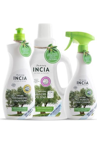 Incia Doğal Çok Amaçlı Temizleyici 500 ml + Doğal Bulaşık Sabunu 500 ml + Doğal Çamaşır Makinesi Sabunu