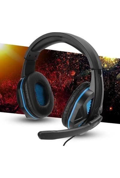 Mobitell SEZ-881 Mavi Mikrofonlu Profesyonel Oyuncu Kulaklığı