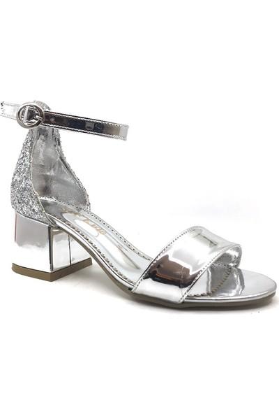 Sema Gümüş Simli Günlük Abiye Tek Bant Kız Çocuk Topuklu Ayakkabı