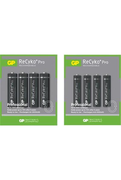 Gp Recyko Pro 2100 Serisi 4 Adet Aa + 850 Serisi 4 Adet Aaa Şarjlı Pil 8 Adet