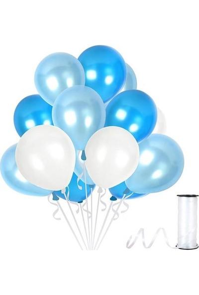 Kullanatparty Rafya Hediyeli 30 Adet Metalik Parti Balonu Koyu Mavi - Beyaz - Bebek Mavisi