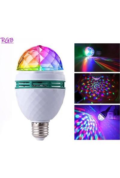 Pz E27 Renkli Led Döner Başlıklı Disko Topu Ampul 3 W