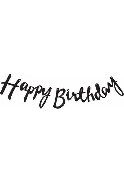 Parti Feneri Happy Birthday Siyah Kaligrafi Banner 210 cm