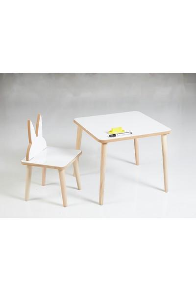 Yaz Sil Yüzeyli Çocuk Aktivite Masa Sandalye Takımı - Tavşan Sandalye