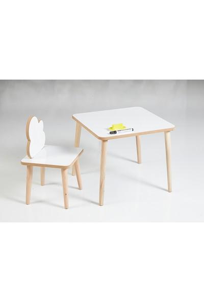 Yaz Sil Yüzeyli Çocuk Aktivite Masa Sandalye Takımı - Bulut Sandalye
