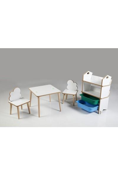 Asrimo Çocuk Masa Sandalye Kitaplık Takımı - Çift Sandalye