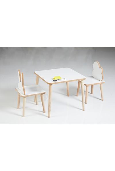 Asrimo Yaz Sil Yüzeyli Çocuk Aktivite Masa Sandalye Takımı - Çift Sandalye