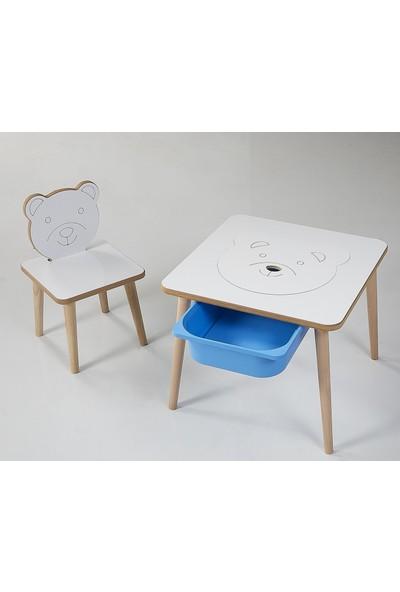 Depolama Hazneli Çocuk Aktivite Masa Sandalye Takımı - Ayıcık Figürlü