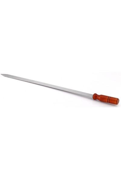 Gönen Çelik Paslanmaz Şiş 1 Adet 2,50 cm Yası 60 cm Boy Ahşap Sap