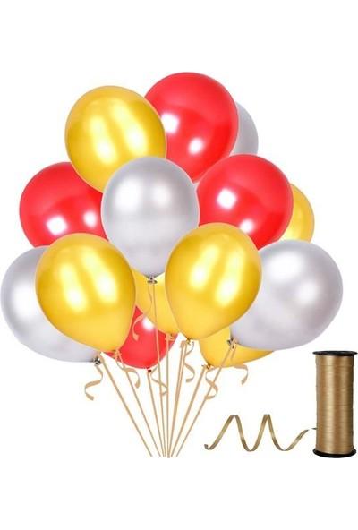 Kullanatparty Rafya 30 Adet Metalik Parti Balonu Kırmızı - Altın - Gümüş