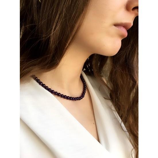 Serpil Jewellery Kadın 925 Ayar Gümüş Ametist Doğal Taş Kolye 5 mm