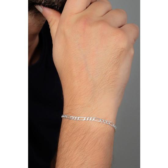 In Dubai Silver 925 Ayar Figaro Erkek Gümüş Zincir Bileklik DBSE4005